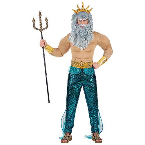 Amakando Disfraz de Dios del mar Neptuno para Hombre/En Talla XL (ES 54) / Outfit de Poseidón Dios del mar Carnaval y Festivales