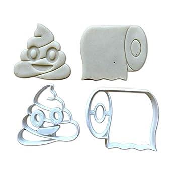 Sweet Prints Inc Poop Emoji and Toilet Paper Cookie Cutter - Dishwasher Safe