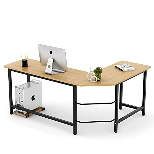 Tribesigns Modern L-Shaped Desk Corner Computer Desk PC Laptop Study Table Workstation Home Office, Wood & Metal (Light Brown)