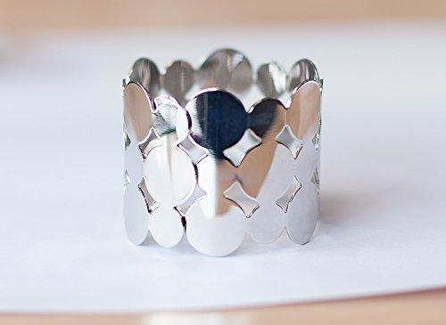 Circular Cut Design Metall Serviette Ring Silber Weihnachts Events Hochzeit 6Stück