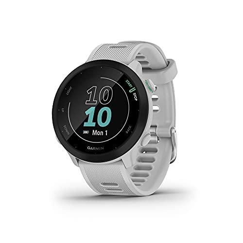 Garmin Forerunner 55 (Whitestone), Smartwatch running con GPS, Cardio, Piani di allenamento inclusi, VO2max, Allenamenti personalizzati, Garmin Connect IQ, Taglia unica