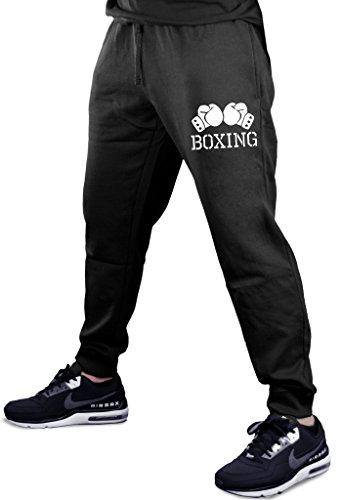 Interstate Apparel Men's Boxing Gloves V434 Black Fleece Gym Jogger Sweatpants Large Black