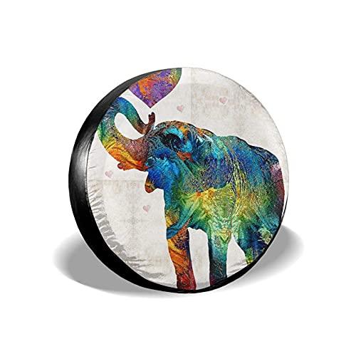 QQIAEJIA Spare Tire Cover Colorful Elephant Art Waterproof Universal Cubiertas para neumáticos de Ruedas for Trailer SUV Camper