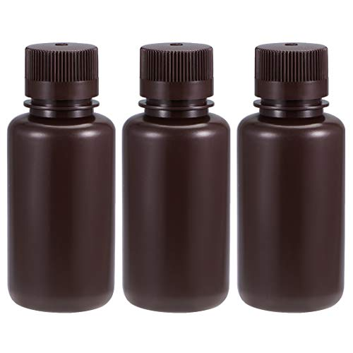 uxcell Plastic Lab Chemical Reagent Bottle 250ml/8.5oz Small Mouth Sample Sealing Liquid Storage Container Brown 3pcs