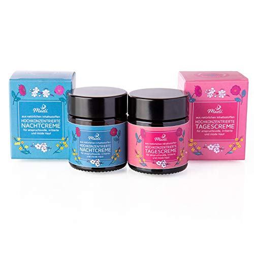 Maeli® Tages- & Nachtcreme Set 30ml - vegan, 100% pflanzlich, tierversuchsfrei -Naturkosmetik für intensive Gesichtspflege - verwendbar als Augencreme, Serum &Feuchtigkeitscreme