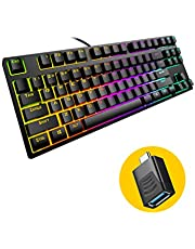TKL Mechanical Keyboard, hiwings Compact Gaming Keyboard RGB Rainbow Backlit 80% 87 Keys Wired Keyboard with Blue Switches for Windows, Mac with Type C Adapter (Extra OTG)