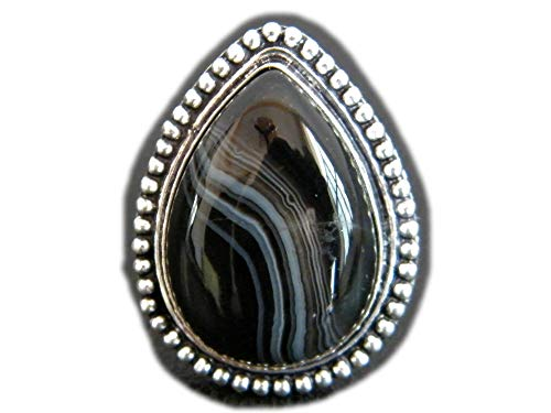 The Best Jewellery Black Bended Botswana Agate Ring, Silver Plated Ring, Handmade Ring, Women Jewelry, Gemstone Ring (Size- 7.25 USA) BRS-11878
