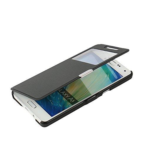 MTRONX pour Coque Samsung Galaxy A5(2015), Cover Etui Housse Poche Cas Couverture Fenetre Vue Ultra Slim Folio Flip Magnetic PU Cuir Serge pour Galaxy A5(2015) - Noir(MW-BK)