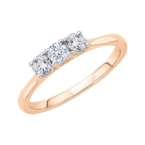 KATARINA Anillo de compromiso de diamantes de tres piedras en oro de 14 k (1/2 cttw, I-J, I1)