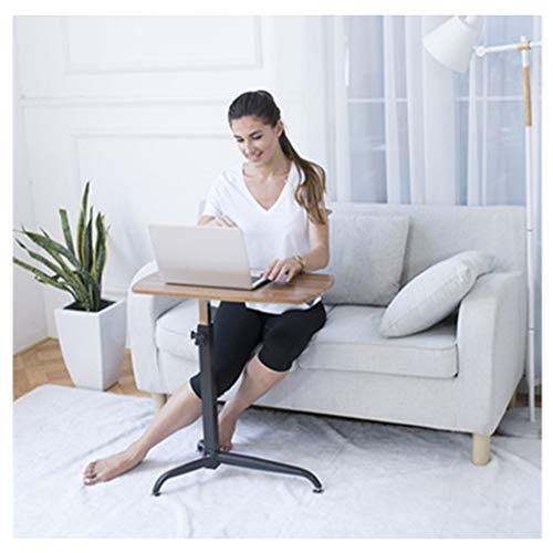 RKRXDH Adjustable Laptop Desk,Laptop Stand Ergonomic,Portable Standing Desk,Adjustable Angle And Height Laptop Desk,for Couch, Floor overbed table (Color : Three-legged walnut)