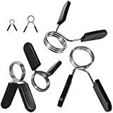 """Spring Clips 1 inch, Set of 2 – by Day 1 Fitness - for 1"""" Standard Barbell Weight and Plates - Spring Lock Collars for Weightlifting, Strength Training, Working Out - Firm Grip, Plate Weight Clamps"""