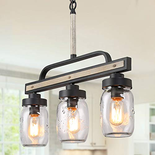 LOG BARN Rustic Mason Jar Chandelier, Farmhouse Lighting Metal Finish, Glass Hanging Pendant for Dining Room, Kitchen Island