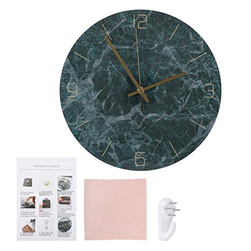 Germerse Reloj Colgante con Pilas, patrón de mármol, Reloj Despertador, Reloj de Pared, Relojes Redondos Vintage, baño para Dormitorio, Escuela, Oficina