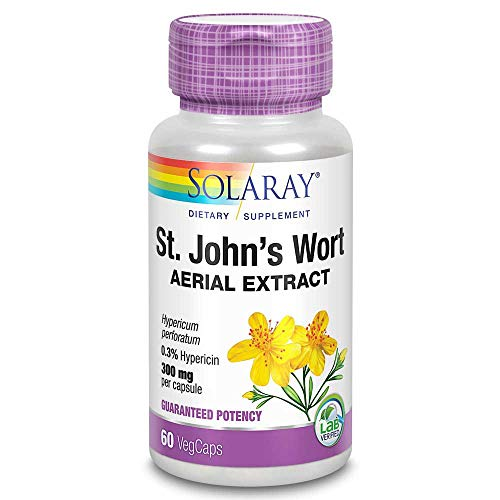 Solaray St. John's Wort - Complemento alimenticio, Potencia garantizada, extracto 233 mg