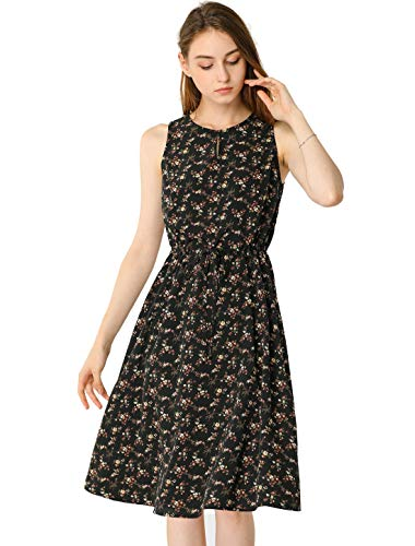 Allegra K Women's Printed Split Neck Drawstring Waist Sleeveless A-Line Dress Large Black