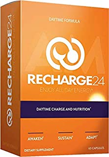 RECHARGE24 AM Energy Pills, Non-Crash Sustained Performance, Pre Workout & Focus Supplement, 1125 mg 100% Natural Herbal Blend with 200 mg Natural Caffeine per Serving, 60 Vegan Capsules