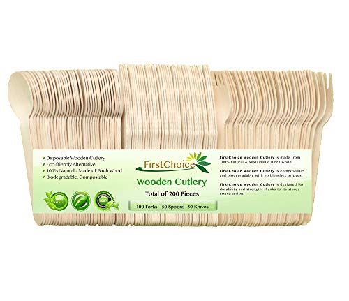 200 Disposable Wooden Cutlery Sets - 200 Piece Total: 100 Forks, 50 Spoons, 50 Knives, 6