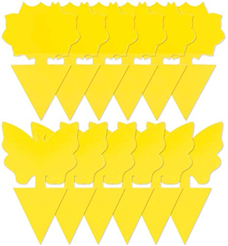 Yellow Sticky Trap, (48 PCS) Natural Fruit Fly Trap Yellow Sticky Bug Traps for Indoor/Outdoor Use, Insect Catcher for White Flies, Mosquitos, Gnats, Flying Insects, Disposable Glue Trappers