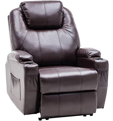 MCombo Elektrisch Relaxsessel Massagesessel Fernsehsessel Liegefunktion Vibration Heizung 7061 neues Modell (Braun)