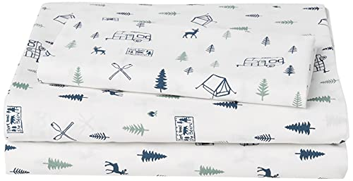 Eddie Bauer Home   Percale Collection Sheet Set-100% Cotton, Crisp & Cool, Lightweight & Moisture-Wicking Bedding, Twin, Campout