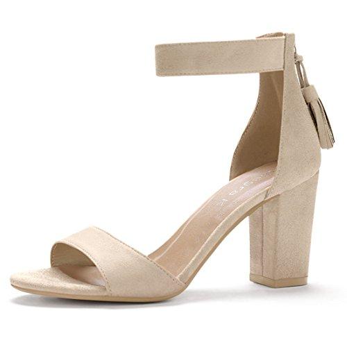 Allegra K Women's Tassel Ankle Strap Beige Chunky Heel Sandals - 7 M US