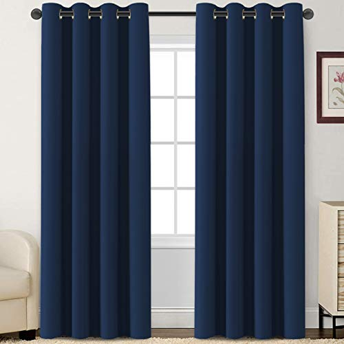 Flamingo P Blackout Curtains 84 Inch Length 2 Panles Set Thermal Insulated Light Blocking Soft Thick Grommet Curtain Drapes for Bedroom/Living Room Home Decoration Window Draperies, Navy