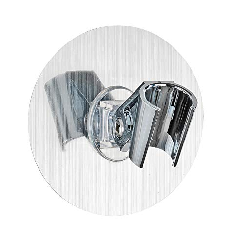 WENKO 22133100 Static-Loc Duschkopfhalter Osimo, Befestigen ohne bohren, Polyethylenterephthalat, 9.5 x 6.2 x 9.5 cm, Silber