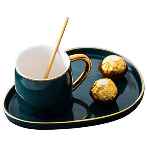 Shumo Japanischen Stil Keramik Tasse mit Teller Kreative Gold Kaffee Tasse Snack Dish Set Einfache Englische Nachmittags Tee Tasse mit L?Ffel