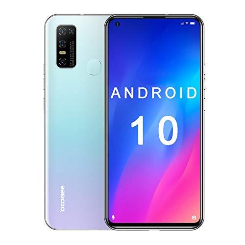 Doogee N30, Android 10, 4 GB + 128 GB, teléfonos inteligentes desbloqueados, 6.5 pulgadas, desbloqueo facial, cámara cuádruple de 16 MP, SIM dual, llamada WiFi, desbloqueado para at&t, desbloqueado para tmobile (blanco)