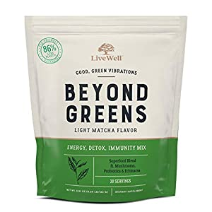 Beyond Greens Superfood Powder - Matcha Flavor w/ Mushrooms, Probiotics, Echinacea for Immune System Boost, Gut Health, Detox, Energy | by LiveWell - 30 Servings