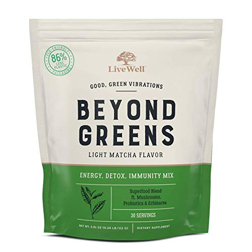 Beyond Greens Concentrated Superfood Powder - Matcha Flavor w/ Mushrooms, Probiotics, Echinacea for Immune System Boost, Gut Health, Detox, Energy | by LiveWell - 30 Servings