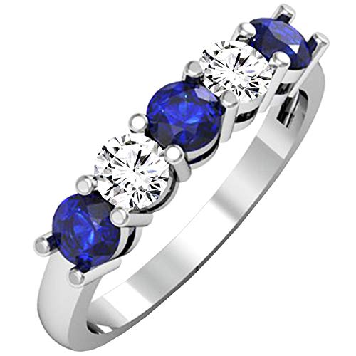 Dazzlingrock Collection Round Blue Sapphire and White Diamond Ladies Alternate 5 Stone Anniversary Wedding Band, 14K White Gold, Size 5