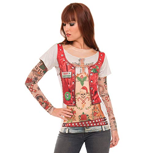 Faux Real Women's Ladies 3D Photo-Realistic Ugly Christmas Sweater Long Sleeve T-Shirt, Xmas Tattoowb-Mt-RNUM-WRNUM, Large