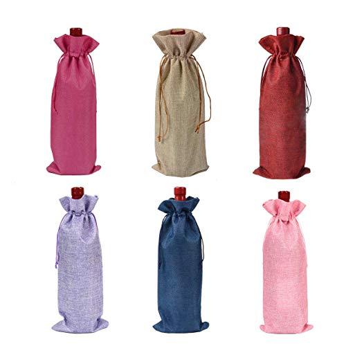6 stück Weinbeutel, Geschenkbeutel aus Sackleinen für Flaschen mit Zugverschluss, 35 x 15cm natürliche jute weinbeutel,Weinflasche Geschenktüten (Jute-Farbe) (6 Mehrfarbig)