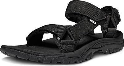 ATIKA Men's Outdoor Hiking Sandals, Open Toe Arch Support Strap Water Sandals, Lightweight Athletic Trail Sport Sandals, Maya(m111) - Black, 11