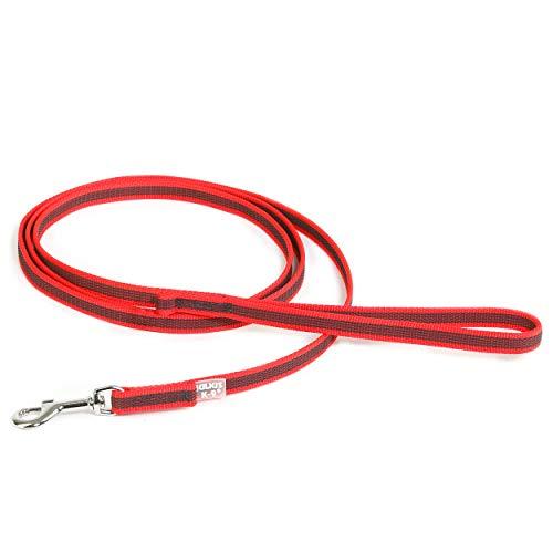 Julius-K9 Color & Gray Correa de Perro del Estupendo-Apretón con Asa, 14 mm x 2 m, Rojo y Gris, 14mm mit O-Ring