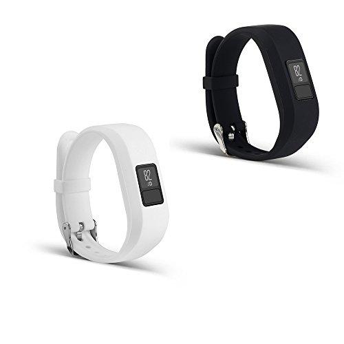 PINHEN for Garmin Vivofit 3 Bands - Silicone Replacement Sport Band with Plastic Clasps for Garmin Vivofit 3 Activity Tracker Wireless Wristband Bracelet (Black & White)