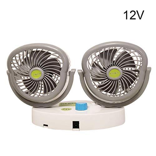 LuohuiFang Ventilador de sobremesa, ventilador eléctrico de doble cabezal, con potente enfriamiento del viento, 12 V o 24 V, giratorio