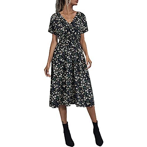 Jeqckloves Vestido floral de manga corta con cuello en V hasta la rodilla para mujer, vestidos de playa de verano, Negro, L
