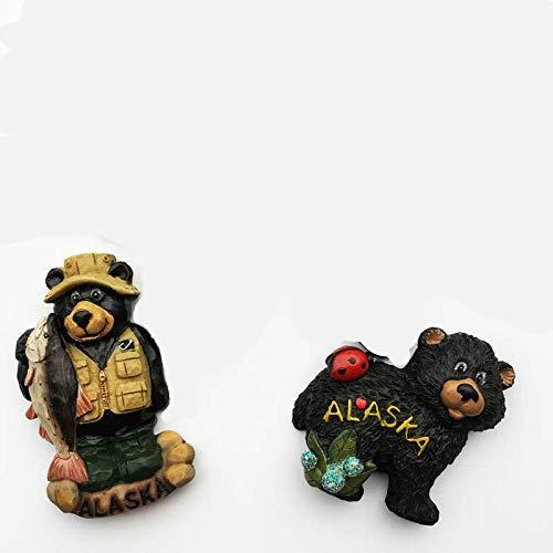 shenlanyu Imanes de nevera 2 unids estilo americano Alaska turístico imán recuerdos rey cangrejo alce oso marrón 3d imán nevera Alaska tótem