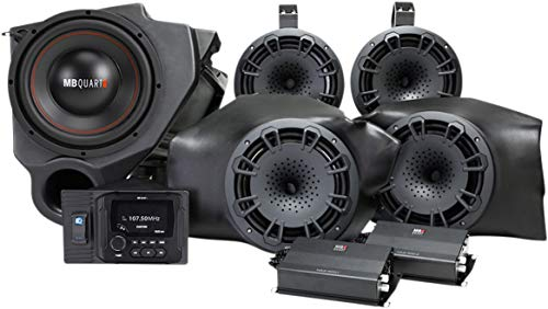 MB QUART Kick Panel+Tower Speakers+Radio+Sub+Amps For Select Polaris RZR ATV UTV