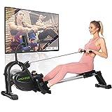 ANCHEER Rudergeräte für zuhause, F103A 2021 Rudergerät mit leises & Tablet-Halterung, Rower mit Multifunktions 10 Stufen Widerstandsverstellung für Fitness zu Hause