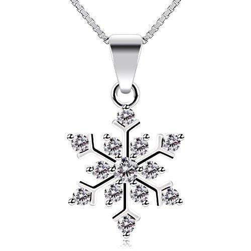 B.Catcher collana in argento con pendente in zircone a forma di fiocco di neve