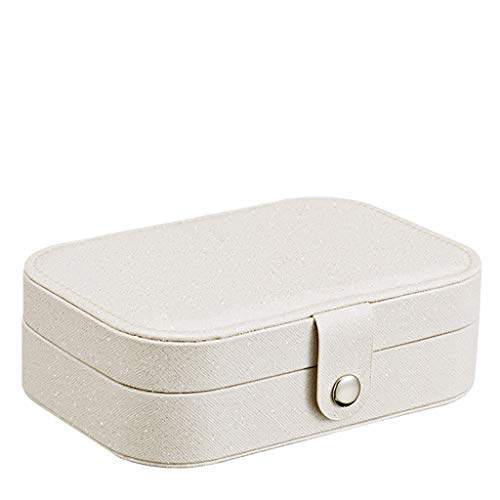 Shan-S Small Faux Leather Travel Jewelry Storage Box, Portable Travel Earring Ring Necklace Jewelry Mini Organizer Flannel Display Tray Holder Gift Storage Case Best Gifts Choice for Girls Women