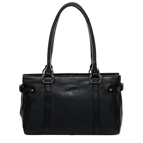 BACCINI Handtasche mit Langen Henkeln echt Leder Noemi Henkeltasche Schultertasche Ledertasche Damen schwarz
