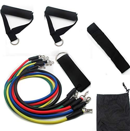 HUO FEI NIAO 11PCS Resistance Bands Widerstandsbänder Set,Multifunktionaler Trainingsanzug mit Spannseil und elastischer Seilstärke,Tür-Anker und Griffe für Muskelaufbau Krafttraining Yoga