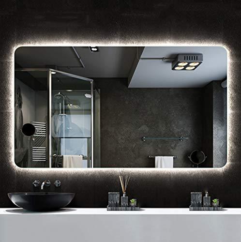 Mirror Spiegel - intelligenter LED-Badspiegel, viereckiger hinterleuchteter Schminkspiegel mit Flacher Wandmontage, Antibeschlag, silberner Spiegel
