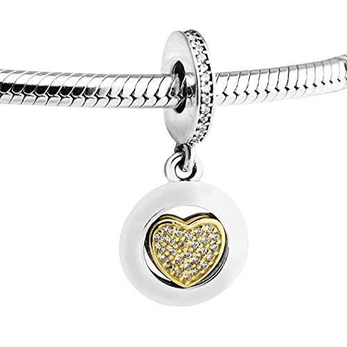 LISHOU Mujer Pandora S925 Sterling Silver Golden Shine Signature Clear Heart Crystal Charms Bead Fashion Girl Pulsera Collares Fabricación De Joyas DIY