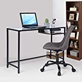 Aingoo Home Office Desk, Writing Computer Desk Study Table with Glass Desktop and wood shelf for Home office,100*40*75 cm