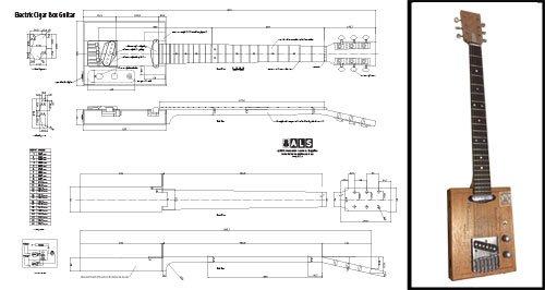 Plan of a 6-string Electric Cigar Box Guitar - Full Scale Print